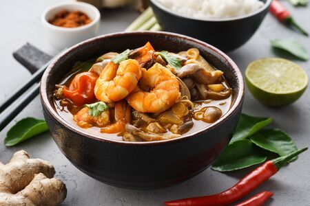 Tom Yam Kung - spicy Thai soup with shrimps, coconut milk and chilli pepper. Served with rice. Imagens