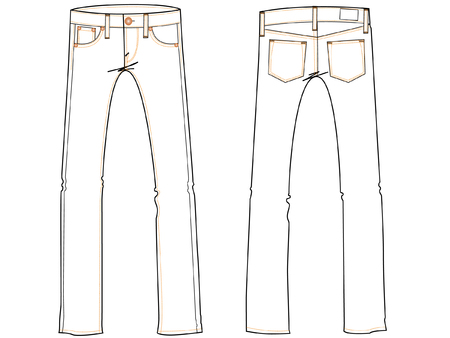 trouser: basic jeans drawing illustration for design industry
