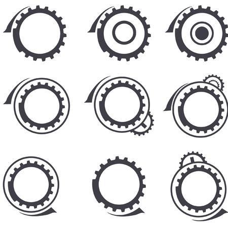 Conjunto de engranajes vector logos y elementos de diseño gráfico