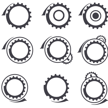 Set of gear wheels vector  logos and graphic design elements Illustration
