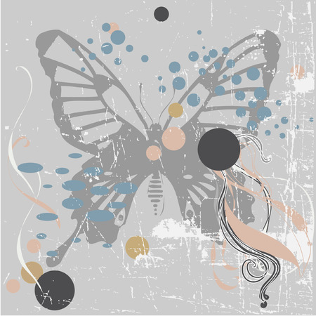 Vector grunge background with butterfly Stock Vector - 3580377