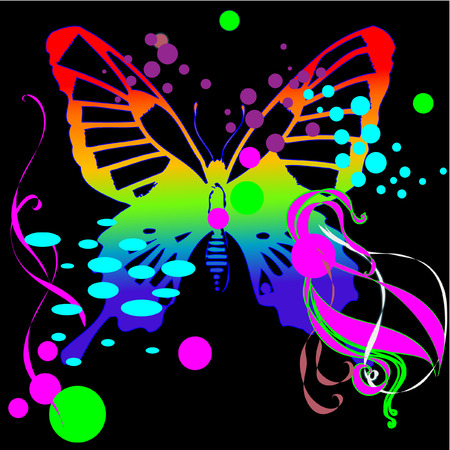 butterfly background with neon color Stock Vector - 3699935