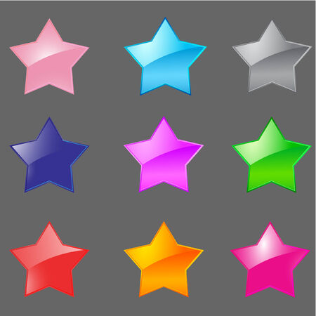 colorful glossy star icon set for web – vector Vector