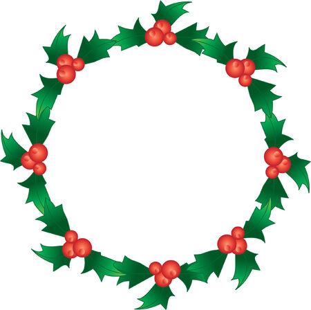 wreath vector: hristmas holly berry wreath