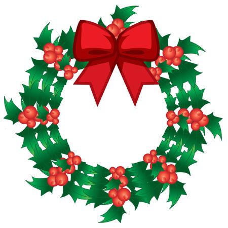 christmas holly berry vector wreath with bow Vector