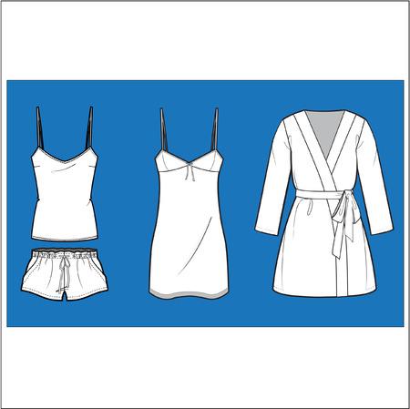 poliester: Calzado de moda ropa para dormir conjunto de vectores