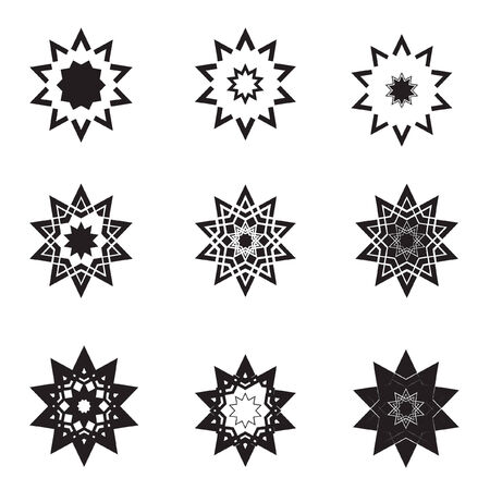 Abstract black star icons  and graphic design elements Vector