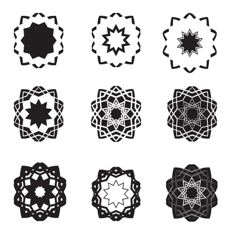 Distorted abstract black star icons  and logos  Vector