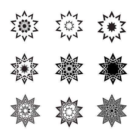 Abstract black star icons  and logos  Vector