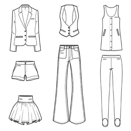 jeans apretados: S mujeres ropa de moda conjunto de vectores Vectores