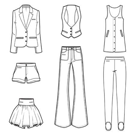women s clothes: Women s fashion clothes vector set