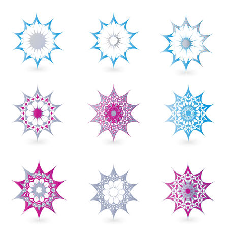 floral detailed ornamental graphic design elements like star Vector