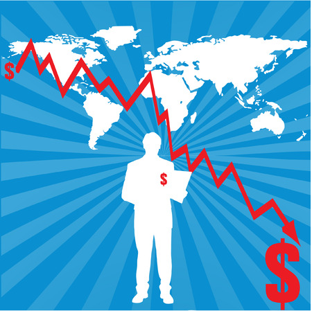 purchasing power: world map with decrasing financial chart Illustration