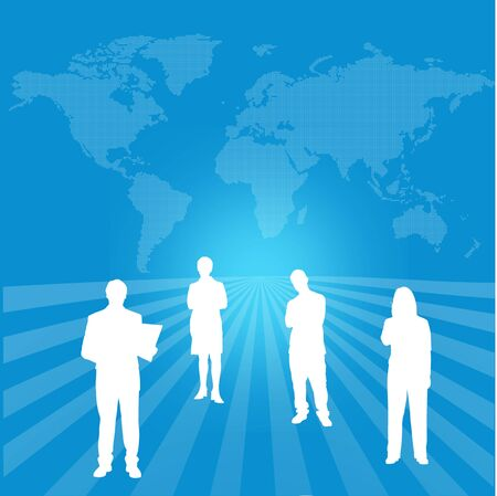 interactive global success team with world map background photo