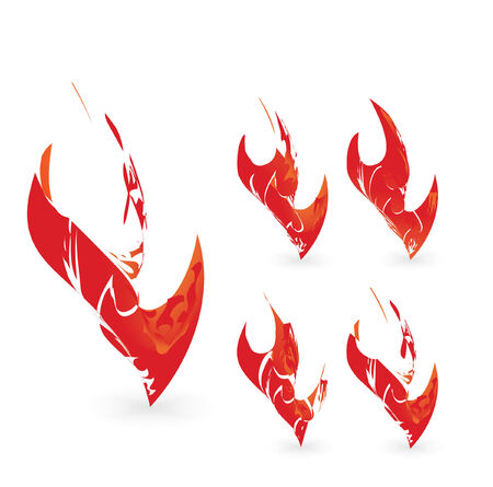 sea disaster: Abstract flame graphic design element set