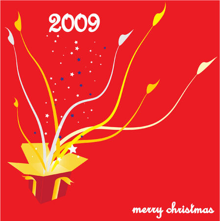 Christmas background with gift box , vector illustration Stock Vector - 3925360
