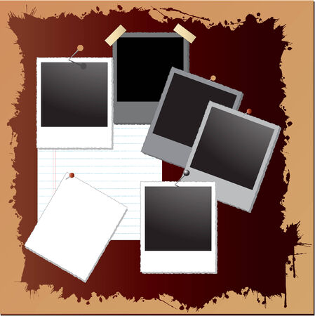 vintage grunge background with photo frames Stock Vector - 4003627