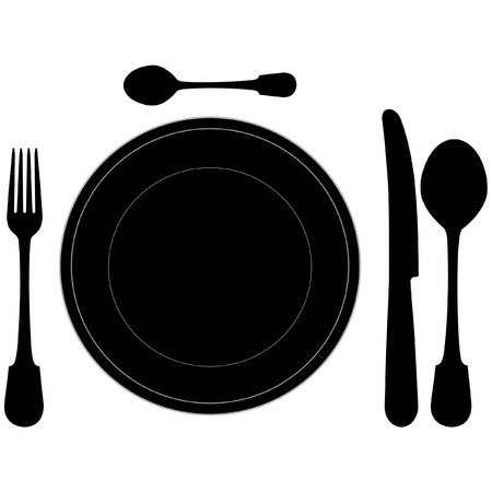 dinning table: closeup of a place setting with dinner-plate in vector format Illustration