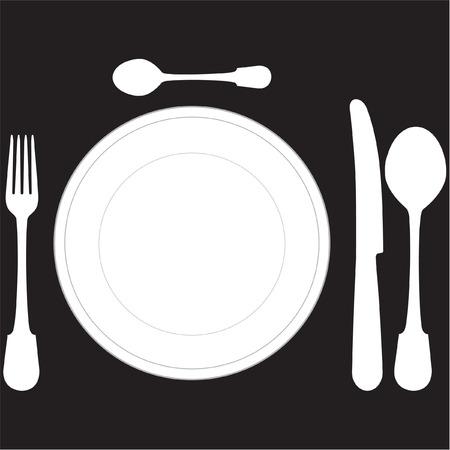 cubiertos de plata: de cerca de un lugar y con la cena-plato en formato vectorial