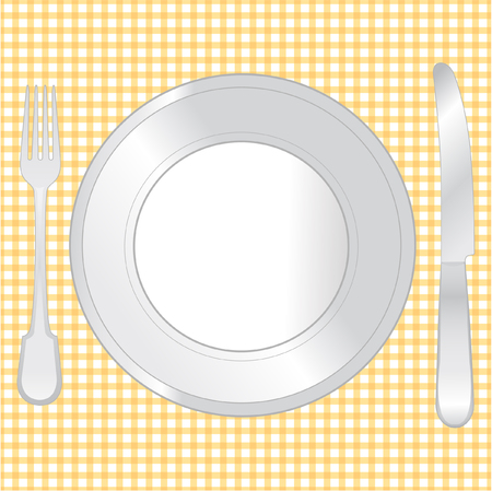 Place setting of a dinning set close up. Vector