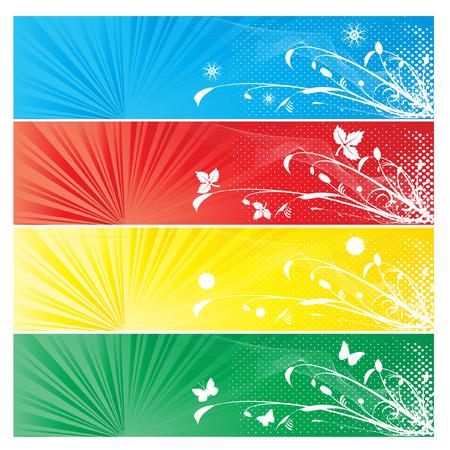 Four season banner – all elements isolated –  easily editable