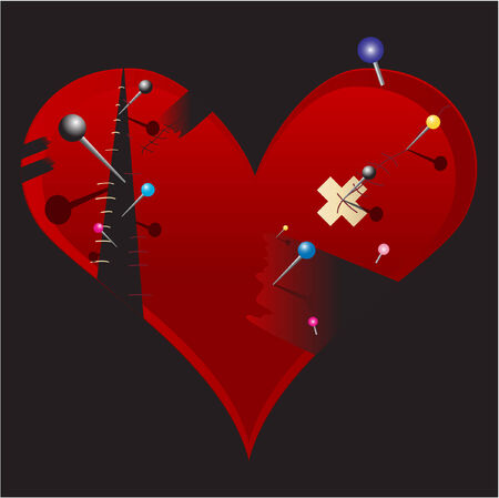mending: Broken Emo Heart with black part, plaster and pin vector background for valentines