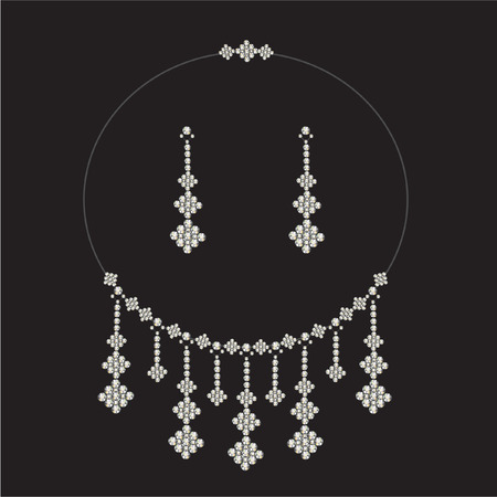 vintage diamond necklace set with earrings  - jewellery Vector