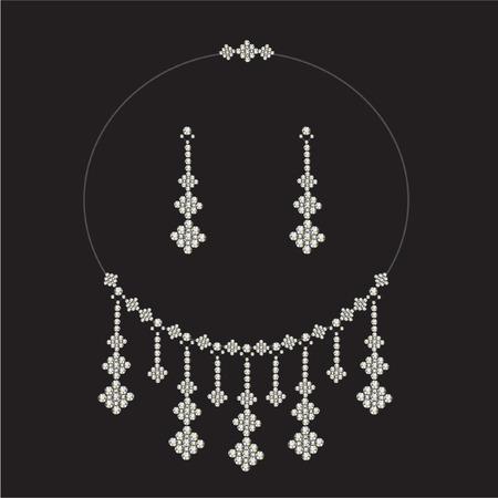 diamond earrings: vintage diamond necklace set with earrings  - jewellery Illustration