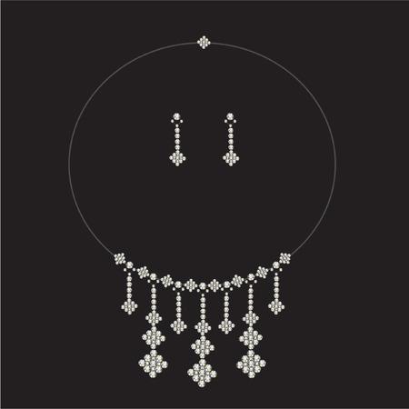 luxury diamond necklace set with earrings- jewellery Vector