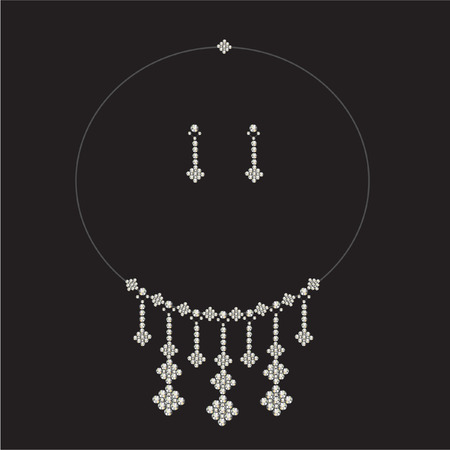 diamond earrings: luxury diamond necklace set with earrings- jewellery Illustration