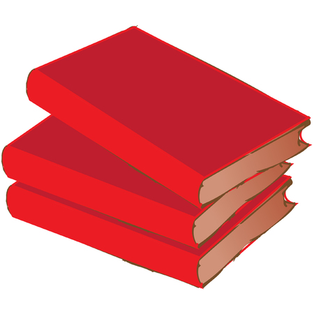 stacked: red vintage book pile isolated on white Illustration