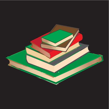 vintage book pile on black background Vector