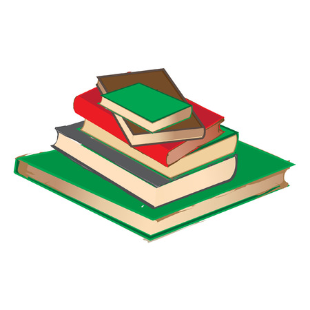 vintage book pile  isolated on white Vector