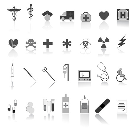 Medical icon and symbol set  Illustration