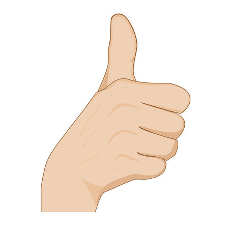 okey: hand with thumb up showing okey sign , cheering  Illustration