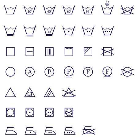 textile care: lavado de signos icono conjunto de planchado, lavado, secado y blanqueado