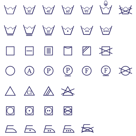 washing signs icon set of ironing, washing ,drying and bleaching