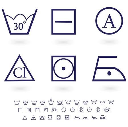 laundry line: lavado de signos icono conjunto