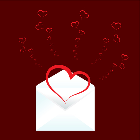Valentines day background with heart and envelope Stock Vector - 4084317
