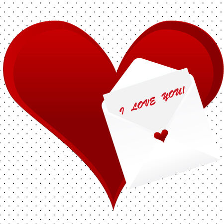 I love you note card with envelope on a dotted background with heart Vector