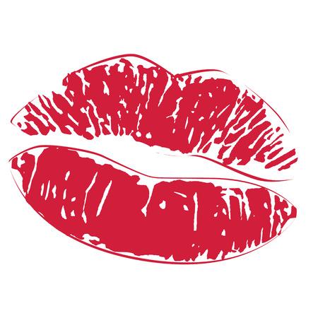 zoenen: Sexy lippenstift kus print icon Stock Illustratie