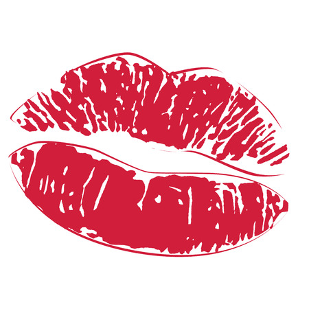 lips smile: Sexy lipstick kiss print icon