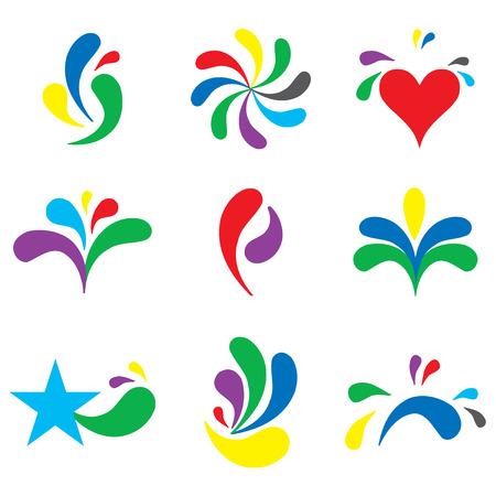 Set of cute branding logos, design elements Illustration