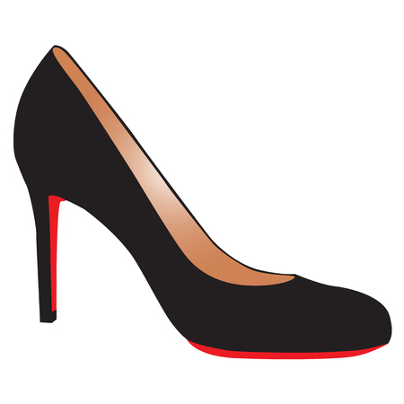 sexy black high-heel shoe with red sole Vector