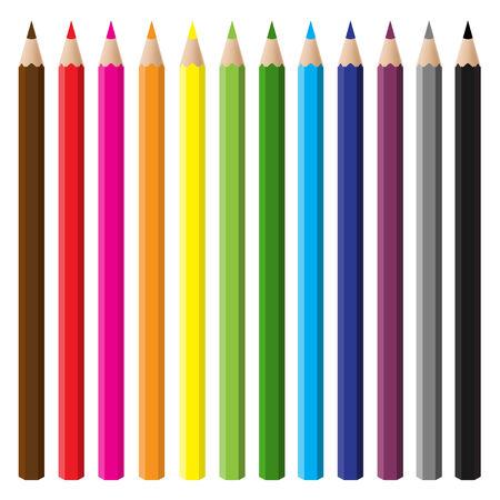 12 color pencil set  Vector