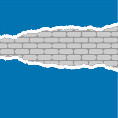 vector ripped paper with white brick background  Vector