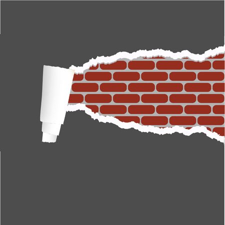 vector ripped paper with brick background Vector