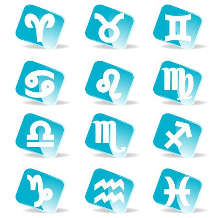 backkground: glossy zodiac signs vector icon set Illustration