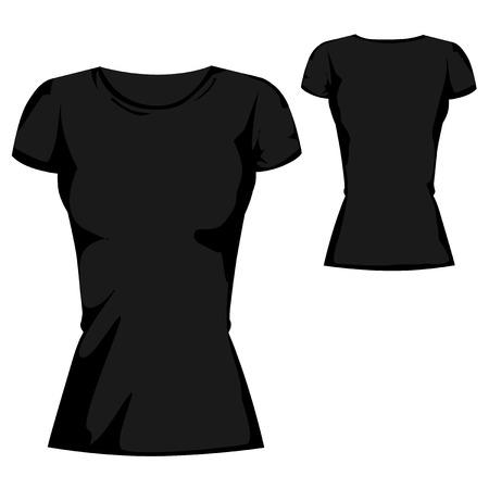 black blank T-shirt design template for womenswear