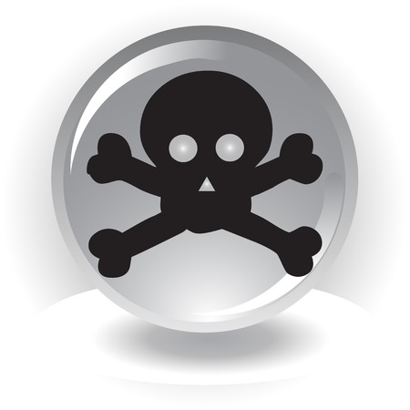 black danger scull  icon on sphere background